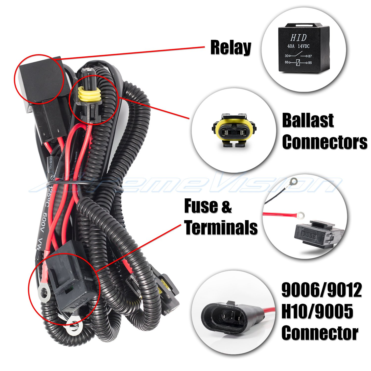 Amazon.com: XtremeVision 9006 / 9012 / H10 / 9005 HID Battery Wiring Relay  Harness 12V 40 AMP 35W/55W for HID Conversion Kit: Automotive