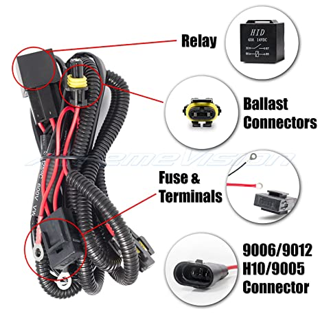 XtremeVision 9006/9012 / H10 / 9005 HID Battery Wiring Relay Harness on