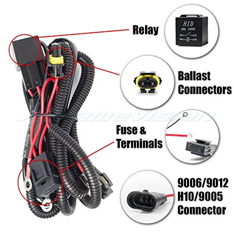 81oaLuo%2BZ7L._SY463_ amazon com xenon hid conevrsion kit relay wiring harness 9005 on 9012 hid wiring harness at edmiracle.co