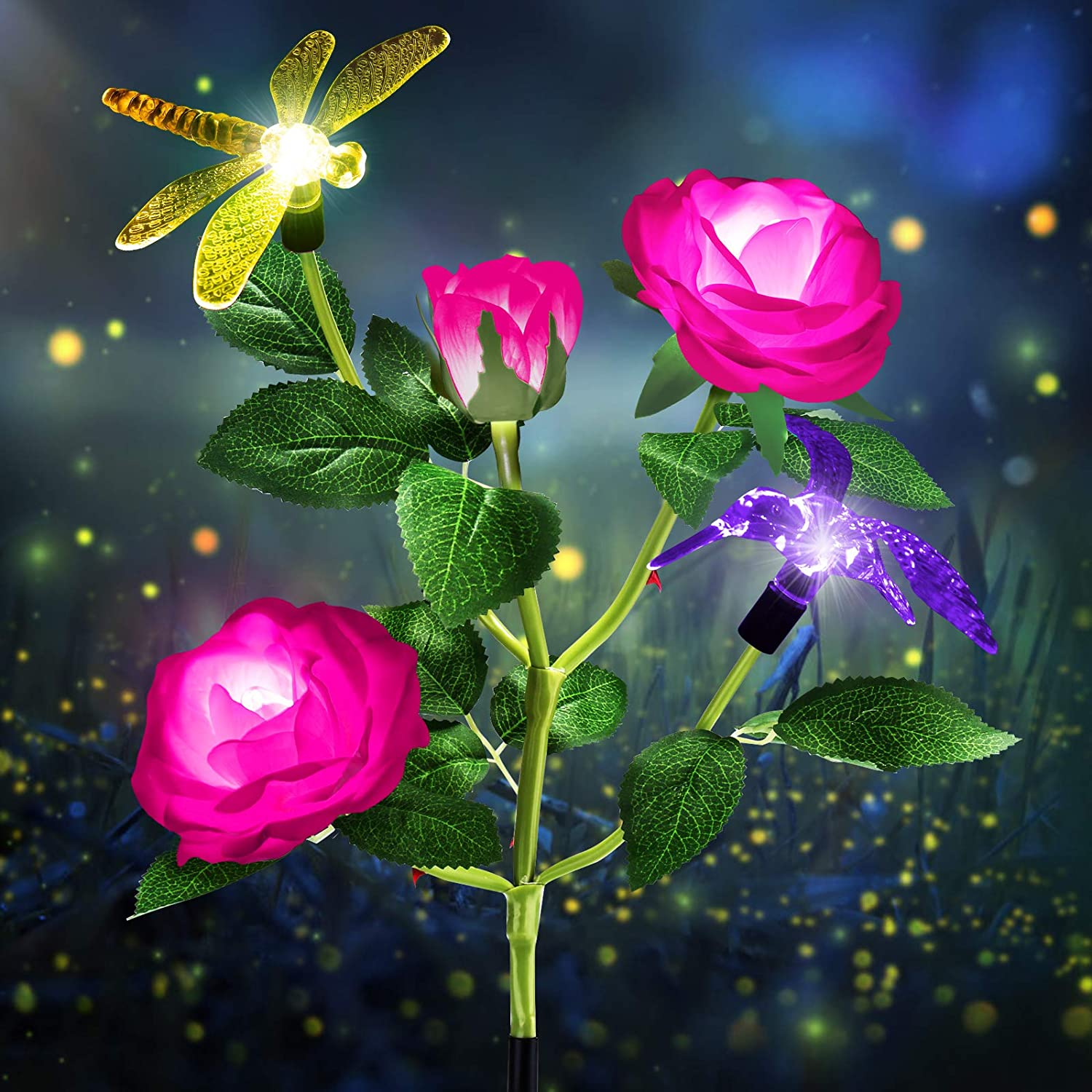 TYNLED Solar Lights Outdoor Decorative, Waterproof LED Multi-Color Changing Outdoor Solar Garden Statues Decor Lights Rose Flowers Solar Stake Lights Hummingbird Dragonfly for Garden Yard (Pink)