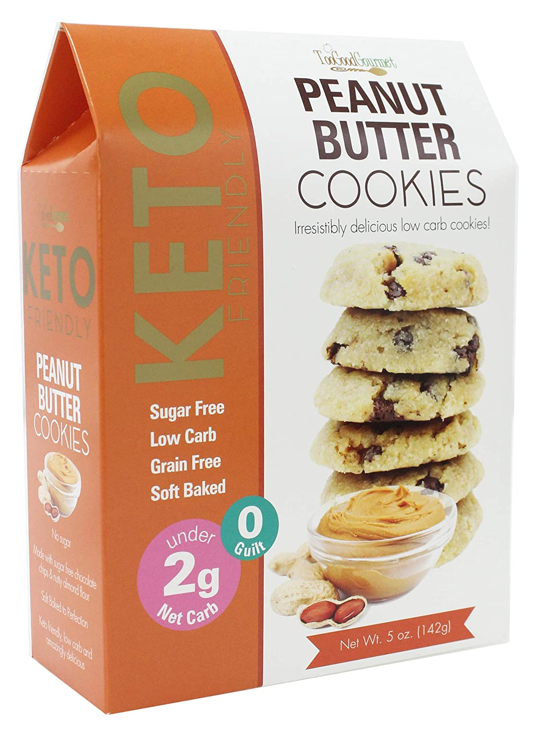 Too Good Gourmet Keto Cookies, Soft-Baked Healthy Snacks, Sugar and Grain-Free Low Carb Keto Snacks, Delicious Healthy Sweets with Less Than 2g Net Carbs (Variety Pack of 3, 5oz Boxes, Peanut Butter)