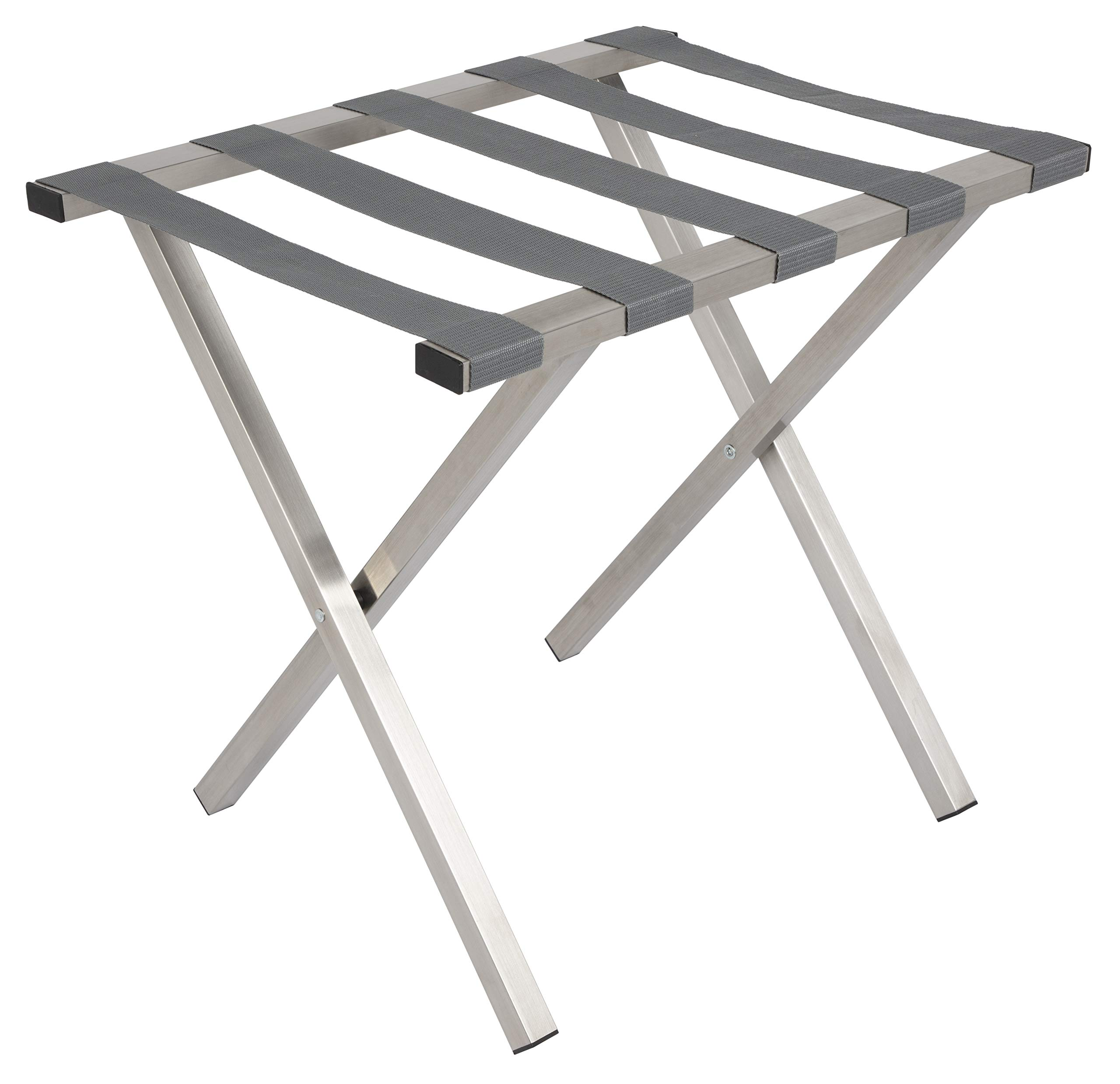 Wholesale Hotel Products MLR_SQ_BS_GR Brushed Stainless Steel Luggage Rack, Straps, Square Tubing, Gray
