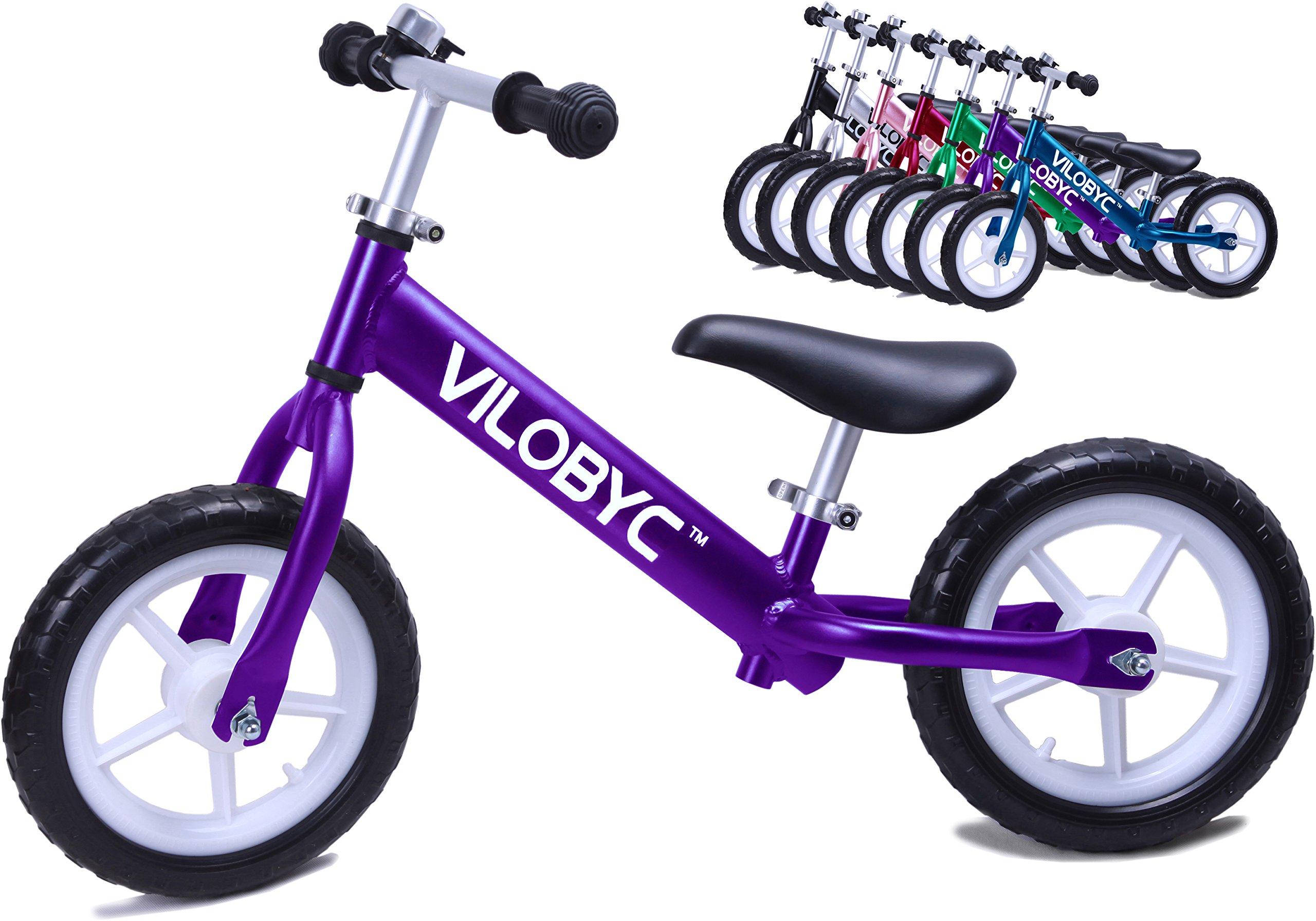 VILOBYC 12'' Anodised Aluminium Alloy Kids Push Ultralight Balance Bike (4.3 lbs) Child 18 Month to 5 Years Old Bicycle
