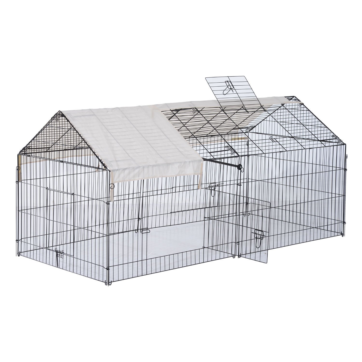 PawHut 87'' x 41'' Outdoor Metal Pet Enclosure Small Animal Playpen Run for Rabbits, Chickens, Cats, Small Animals by PawHut