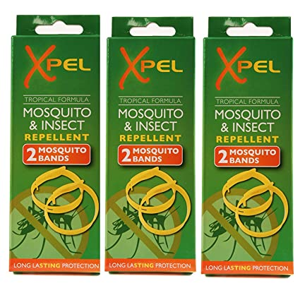 3cajas de 2bandas repelentes de insectos con fórmula tropical para