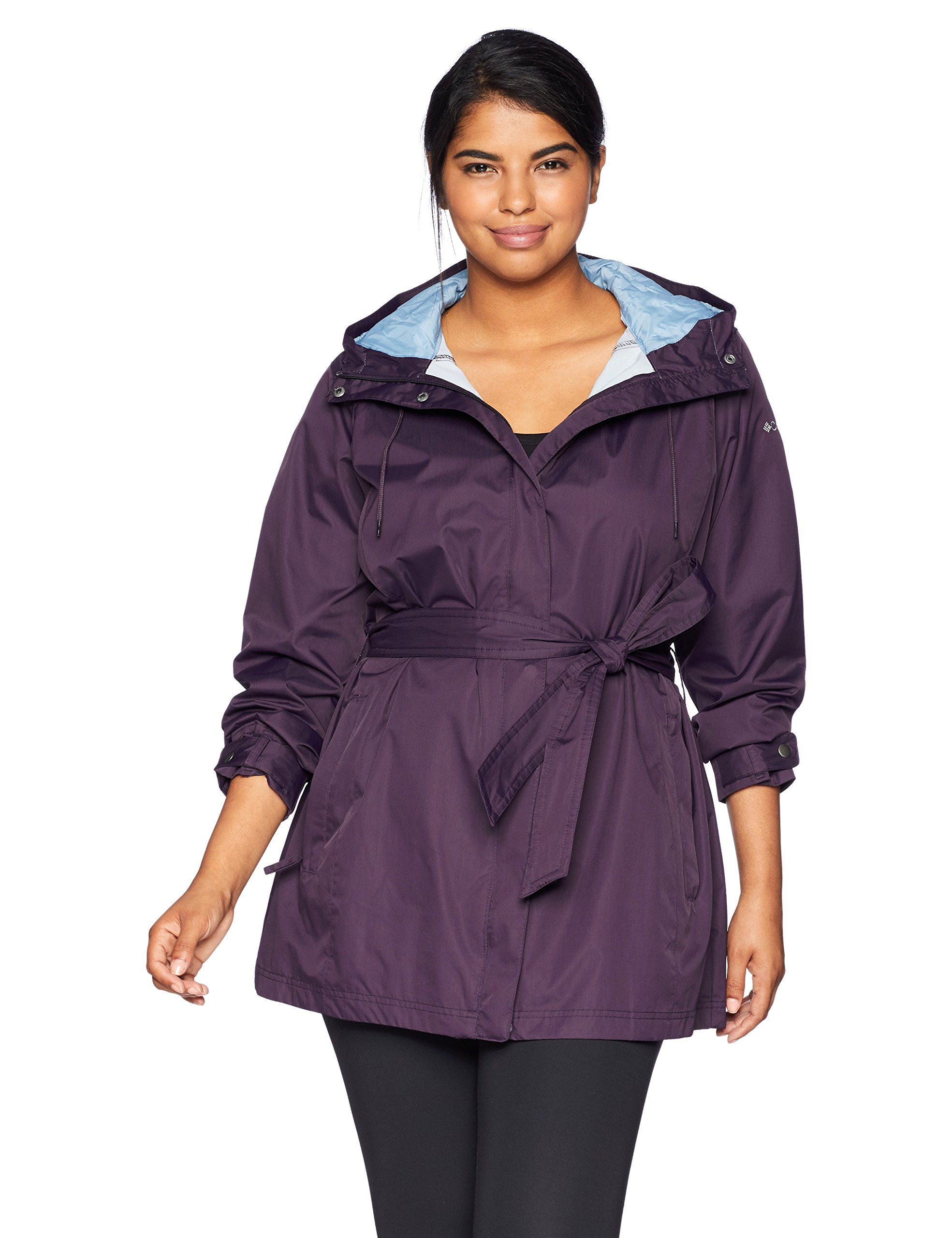 Columbia Women's Plus Size Pardon My Trench Rain Jacket, Dark Plum, 2X