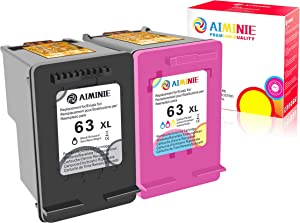 AIMINIE Remanufactured Ink Cartridge Replacement for HP 63XL 63 XL to Use with Envy 4520 3634 OfficeJet 3830 5252 4650 5258 4655 4652 5255 DeskJet 3636 1111 3630 1112 Printer (Black Tri-Color, 2-Pack)