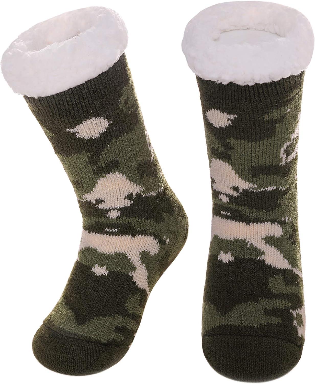 DOSKONI Kids Boys Girls Fuzzy Slipper Socks Children Soft Warm Thick Winter Fleece Lined Non-Skid Home Socks