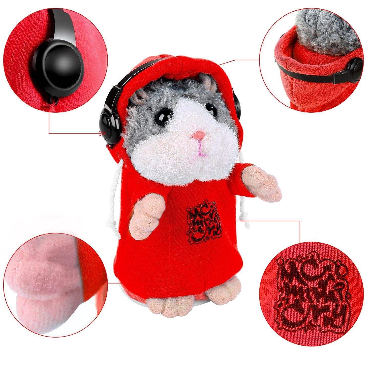 Talking Hamster Repeats What You Say, Cute Plush Electronic Mimicry Hamster Toy with Interactive Function, Gift for Kids Birthday and Parties (S2)