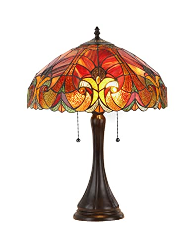 Chloe Lighting CH16780VR16-TL2 Amor Tiffany-Style Victorian 2-Light Table Lamp with Shade, 21.3 x 15.7 x 15.7 , Bronze