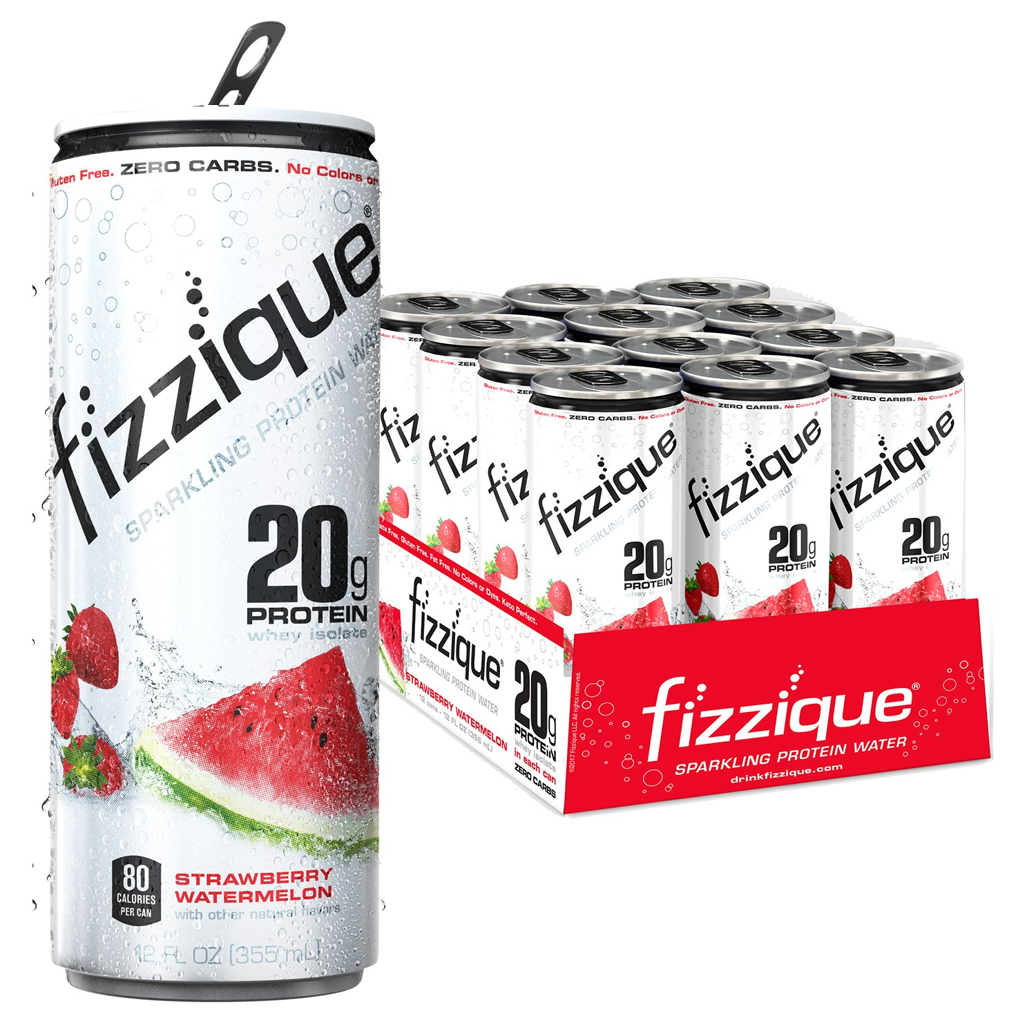 Fizzique Sparkling Protein Water, Strawberry Watermelon, 12 Count by fizzique