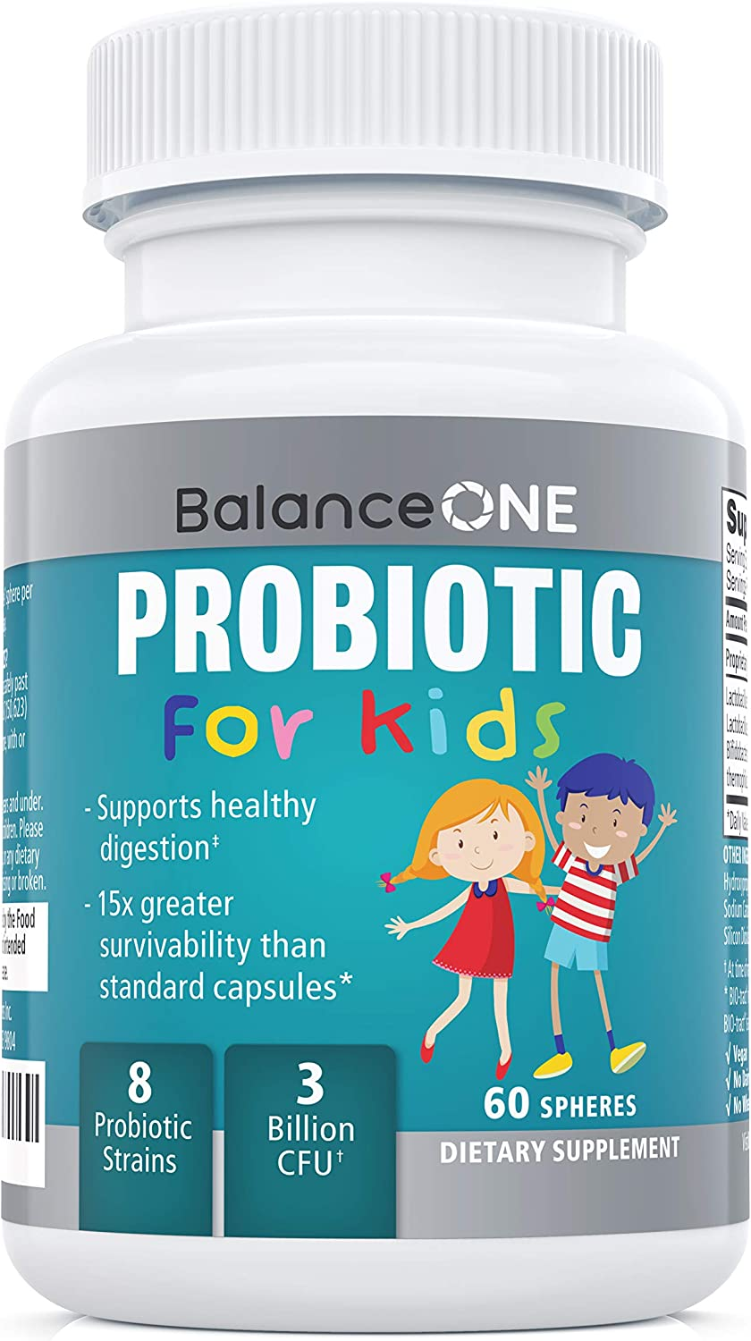Balance ONE Kids Probiotic - for Children's Gut Health and Digestive Support - Time-Release, Shelf Stable, Sugar Free - Tiny, Easy-to-Swallow Pearls - 60 Day Supply
