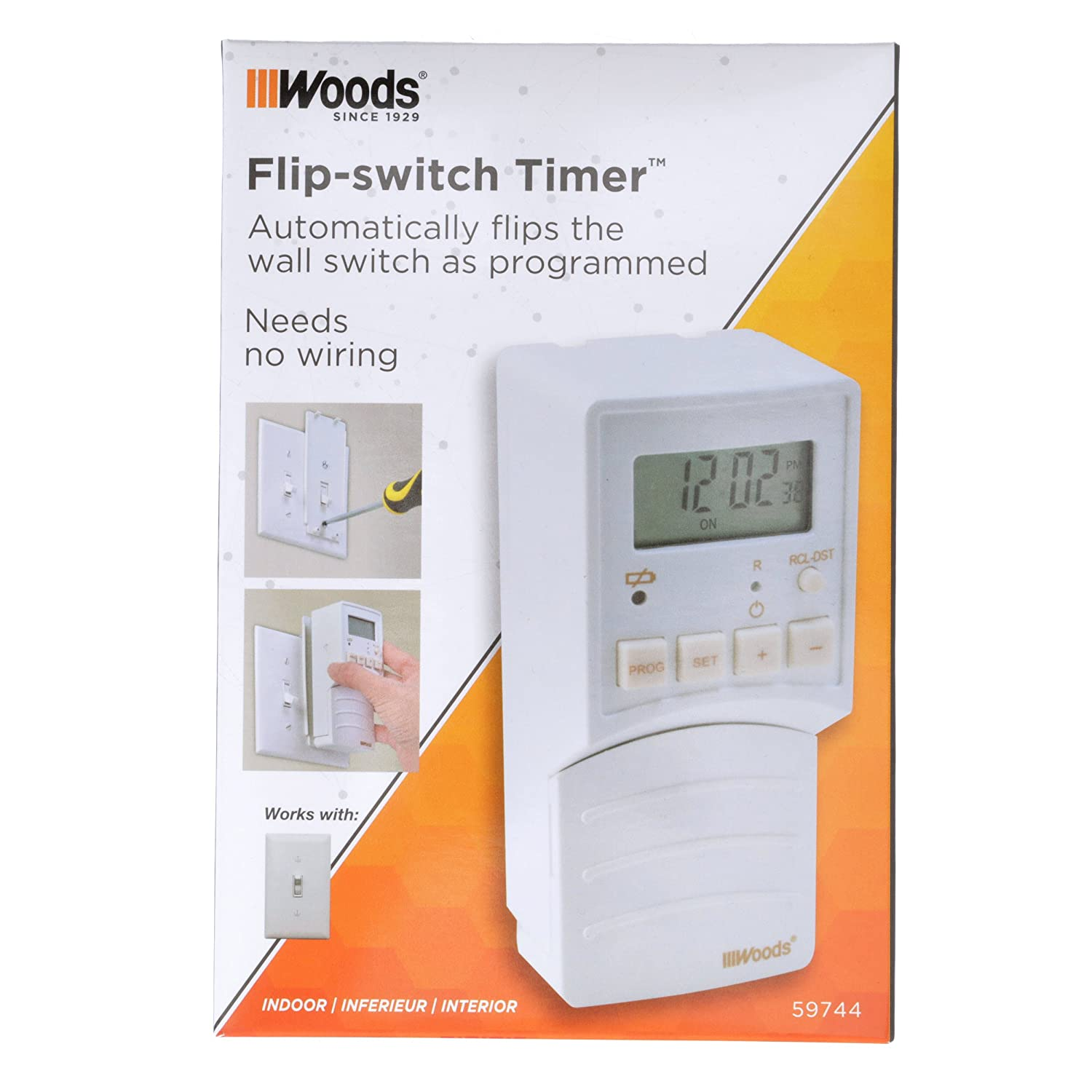 Woods 59744wd Flip Switch Timer Converts Toggle To Wiring For Wall Programmable