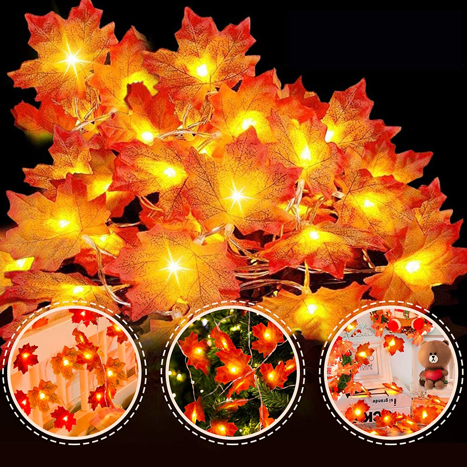 VIBOLA Maple LED String Lights, 20 Counts 10 FT Fairy String Lights, Battery Operated Decorative Mini Christmas Tree Lights for Halloween Indoor, Outdoor, Bedroom Wall, Garden, Wedding Party, New Year