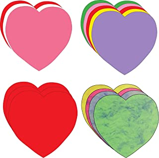 """product image for 5.5"""" Valentine's Large Creative Cut-Out Set, 4 Different Color assortments Hearts, 31 Cut-Outs per Design in a Pack for Classroom Décor, Valentine's Day Theme, and Craft Activities for Kids"""