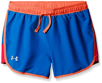 under armour shorts for girls. under armour girls\u0027 fast lane shorts, ultra blue/rocket red, youth x shorts for girls 6