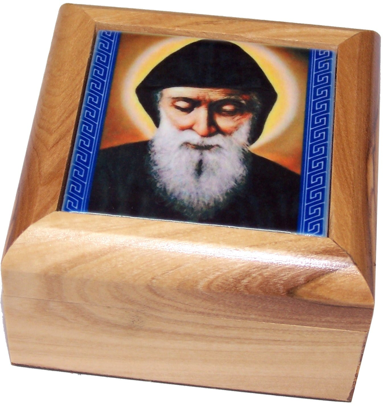 Mar Charbel - Lebanese Saint Holy Land Market Olive Wood Rosary and Box from Bethlehem