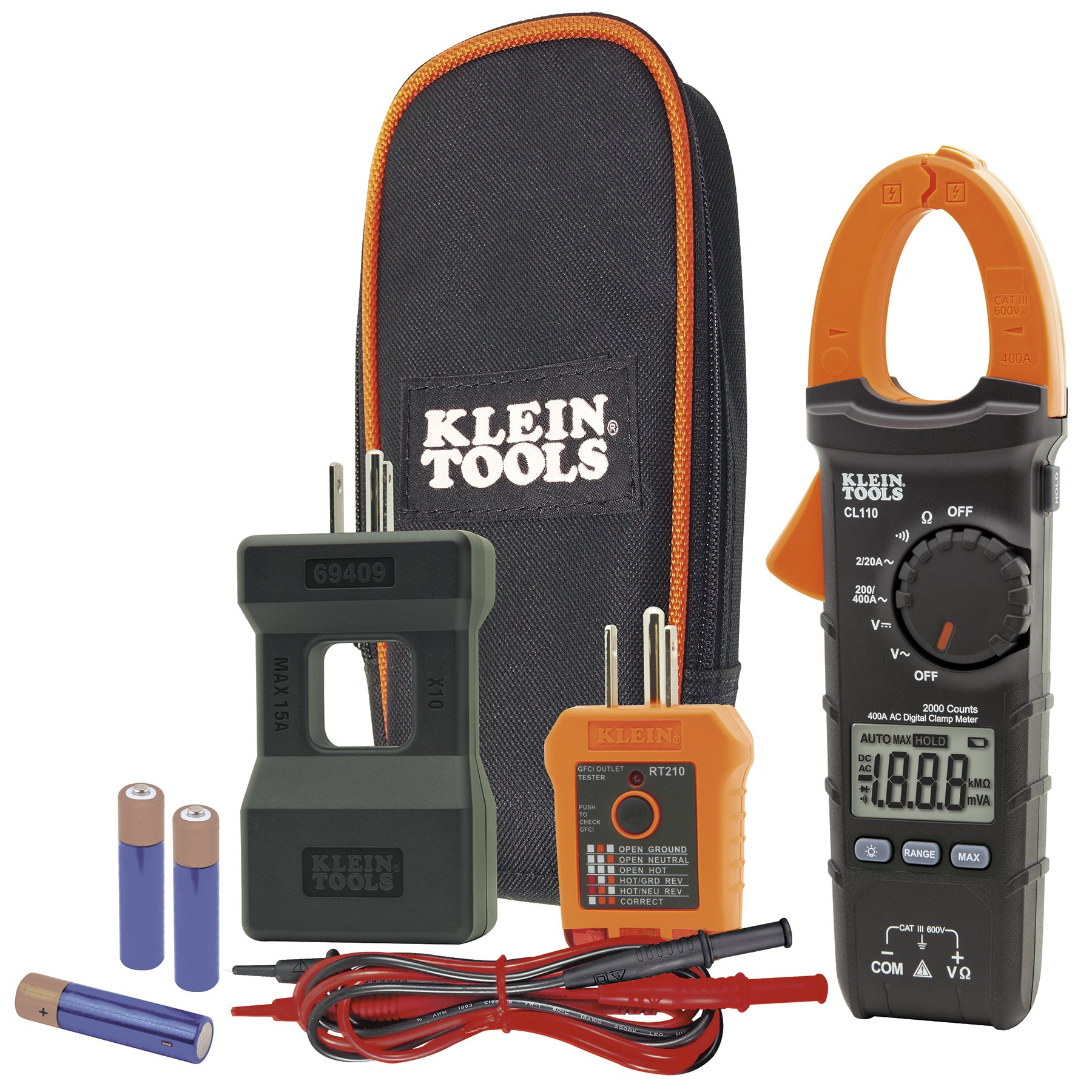 Klein Tools CL110KIT Electrical Maintenance & Test Kit For AC/DC Voltage, Resistance & Continuity, includes Case, Leads & Batteries by Klein Tools