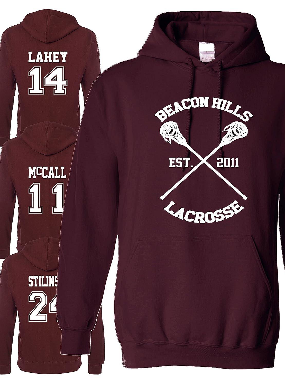 Felpa con cappuccio della squadra di lacrosse Beacon Hills con tutti i nomi Stilinski, Lahey, Mccall