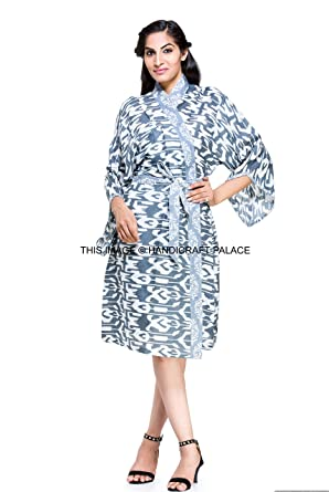 f396a4085a4 Image Unavailable. Image not available for. Color  Indian Ikat Art Cotton  Kimono ...