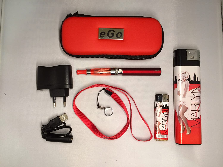 Estuche, Kit completo: cigarrillo electrónico rojo eGo CE4+ 900mAh + golgante + regalos: mecheros de coleccion Marilyn XL y normal. producto (productos) ...