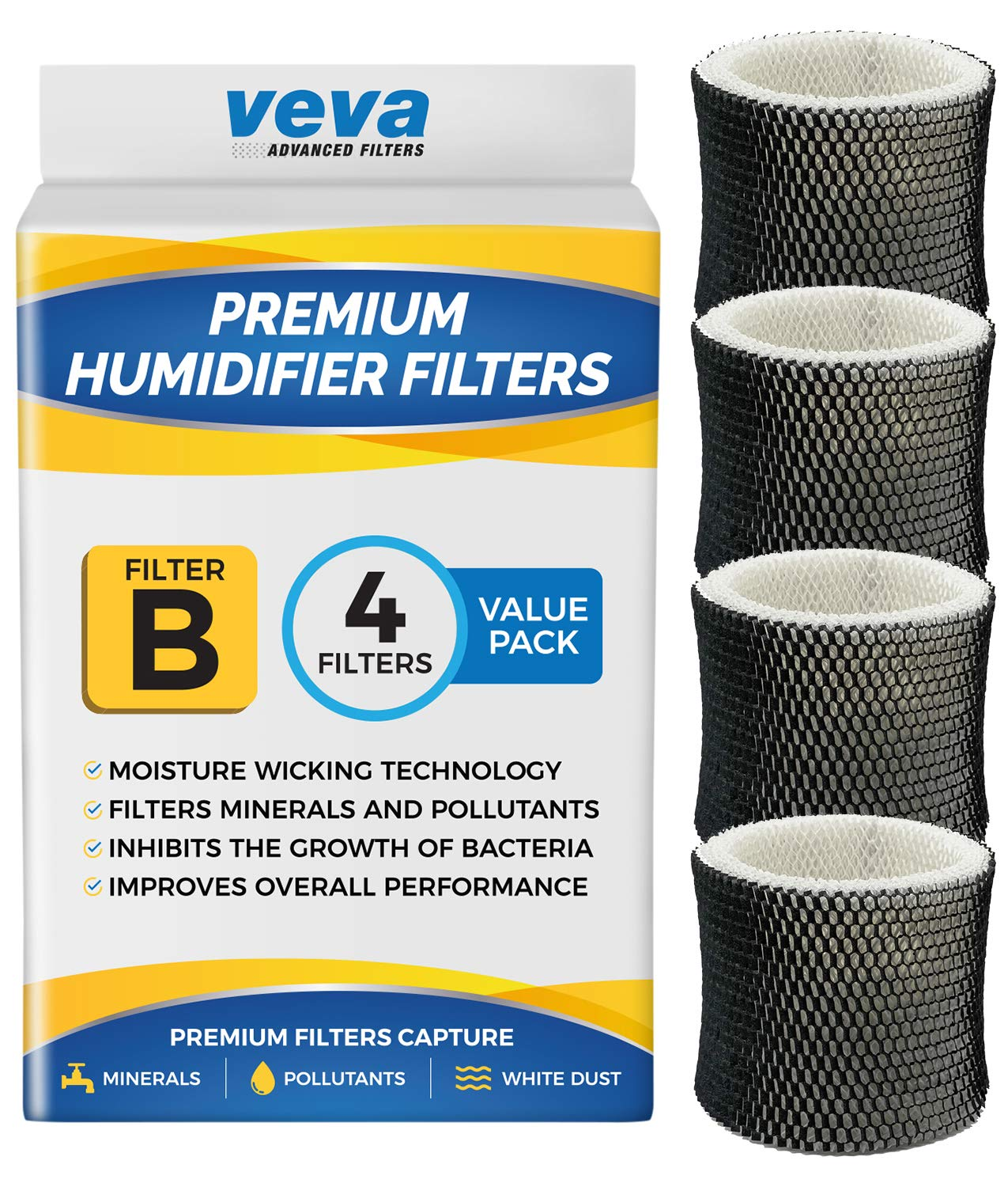 VEVA 4 Pack Premium Humidifier Filters Replacement for Holmes Filter B, HWF64, and Other Sunbeam Bionaire Cool Mist Humidifiers by VEVA