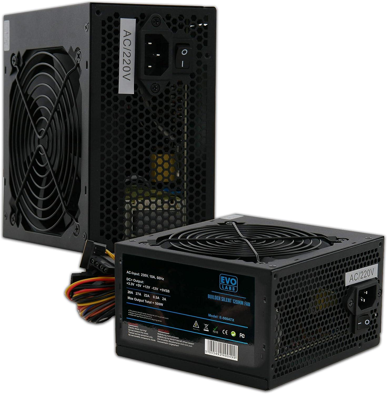 PSU 500W ATX Fuente de Alimentación Conmutada/Ventilador Silencioso de 12 cm Negro/para La Computadora PC/iCHOOSE: Amazon.es: Electrónica