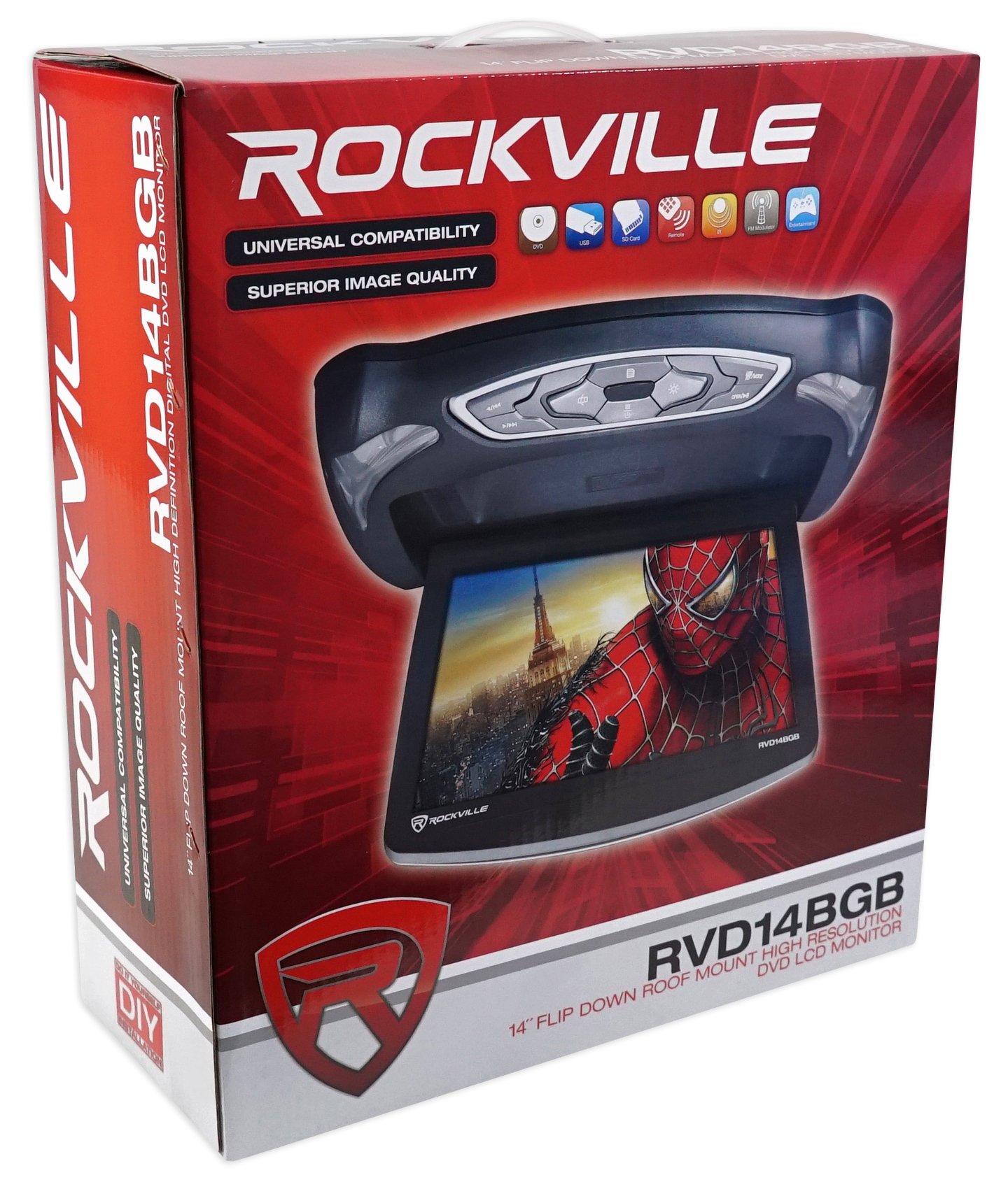 Rockville RVD14BGB Black/Grey/Tan 14'' Flip Down Car DVD Monitor+Games+Headphones by Rockville (Image #7)