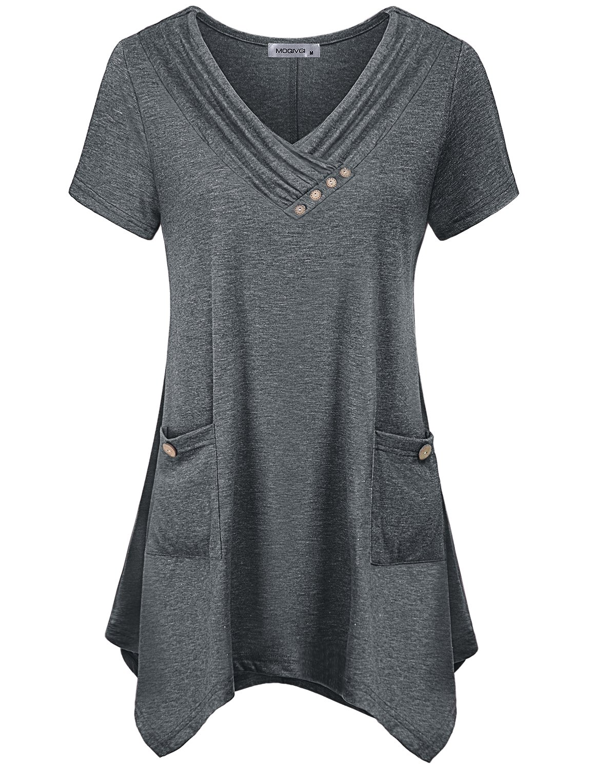 MOQIVGI Summer Tunics for Women,Ladies Legging Shirts Pretty V Neck Short Sleeve Blouse Office Wear Decorative Buttons Relaxed Fit Curved Hem Country Style A-line Tops with Pockets Grey XX-Large