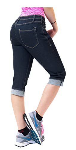 HyBrid & Company Women's Perfectly Shaping Stretchy Curvy Denim Junior Plus Capri