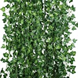 Houda Artificial Ivy Leaf Garland Hanging Plant Silk Ivy Vine Garland Faux Fake Greenery Flower Green Leaves Wreath Home Garden Office Wedding Wall Decor Pack of 12 (Green)
