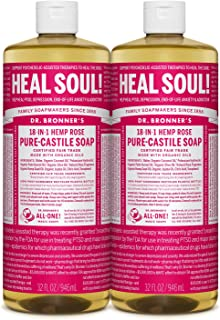 product image for Dr. Bronner's - Pure-Castile Liquid Soap (Rose, 32 ounce, 2-Pack) - Made with Organic Oils, 18-in-1 Uses: Face, Body, Hair, Laundry, Pets and Dishes, Concentrated, Vegan, Non-GMO