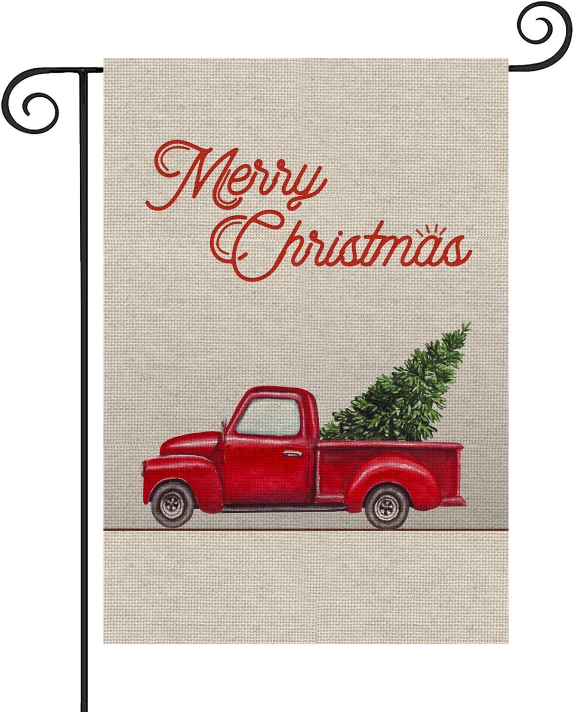 Weadiry Merry Christmas Garden Flag - Red Truck Vintage Tree Double Sided Garden Yard Flag 12.5 x 18 Inch, Winter Xmas Garden Yard Decorations New Year Seasonal Outdoor Decor Holiday Flag