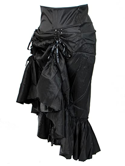 c3e82519b9485 Chic Star Plus Size Black Gothic Steampunk Burlesque 3 Way Lace Up Skirt at  Amazon Women s Clothing store