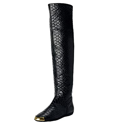 ad720bb0ed9 Giuseppe Zanotti Women s Leather Fur Lined Flat Over Knee Boots Shoes US 6  IT 37 Black