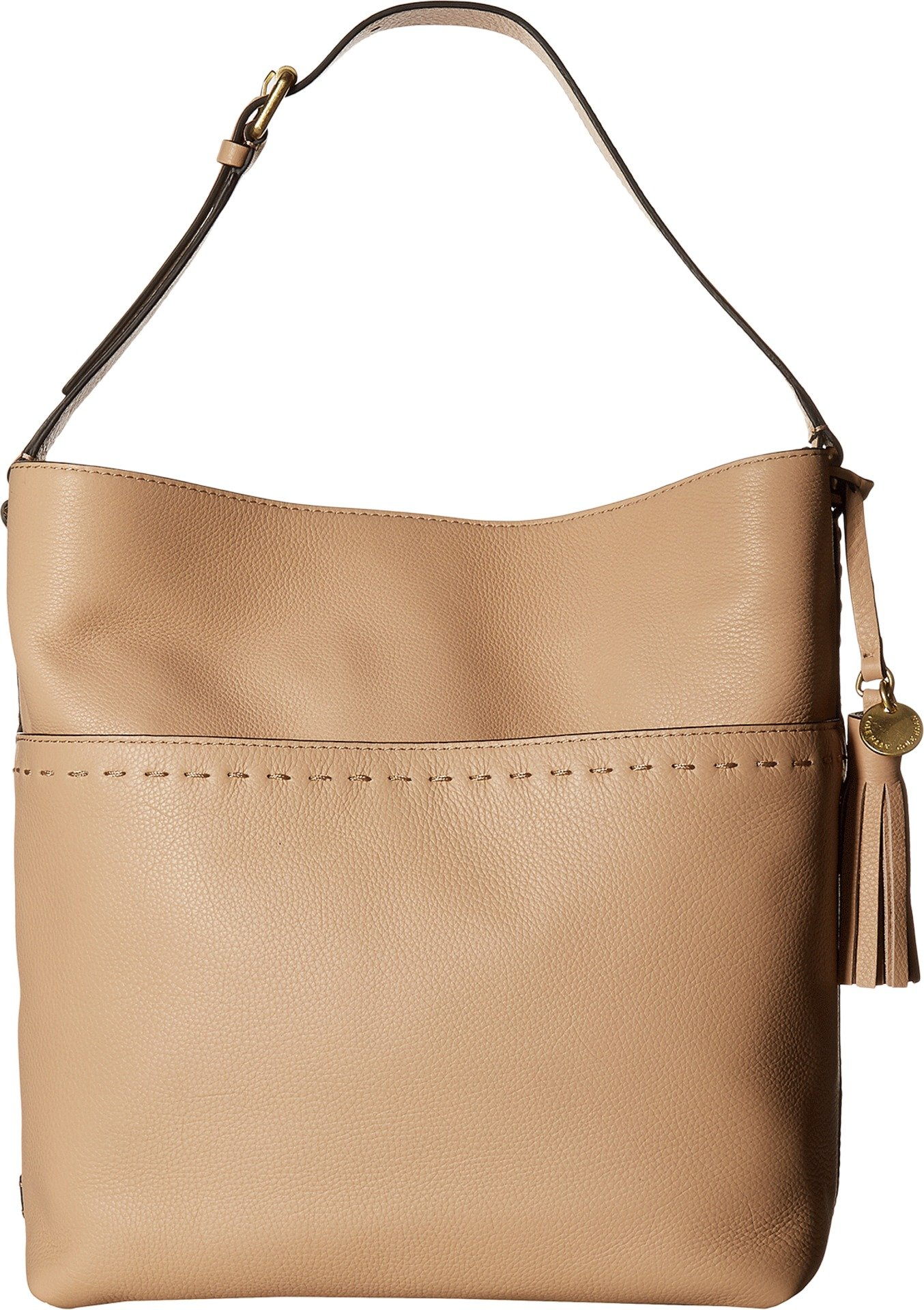 Cole Haan Womens Ivy Pic Stitch Square Bucket Hobo Nude One Size