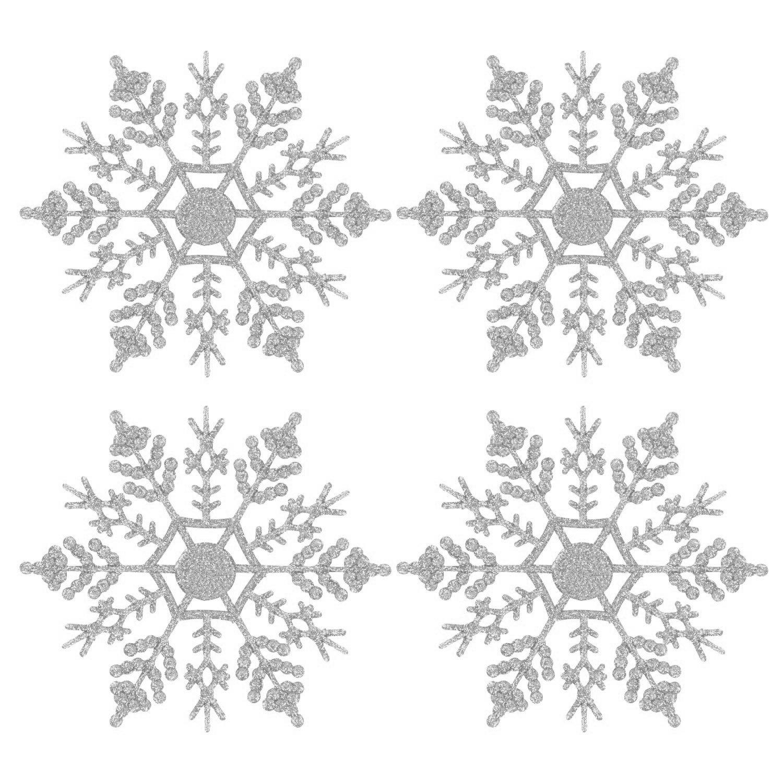 Copos de nieve del brillo, paquete de 24 Forma del copo de nieve que cuelga el ornamento Árbol de navidad decoraciones de la ventana Accesorios de Navidad (Plata)