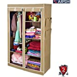 Arsh Portable And Collapsible Wardrobe Metal Frame 6 Racks Closet, Aw06, Beige With High Capacity Up To 70Kgs