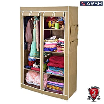 Arsh Portable And Collapsible Wardrobe Metal Frame 6 Racks Closet, Aw06,  Beige With High