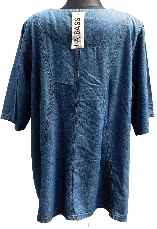 a9bc1384044e La Bass LABASS-Tunika-Bluse-Jeans-Tunika-Cotton-Kurzarm-Lagenlook-Ubergroesse-Gr-  3, (Gr. 3)  Amazon.de  Bekleidung