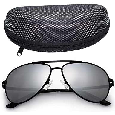 mens black aviators  Amazon.com: LotFancy Aviator Sunglasses for Men with Case, 61mm ...