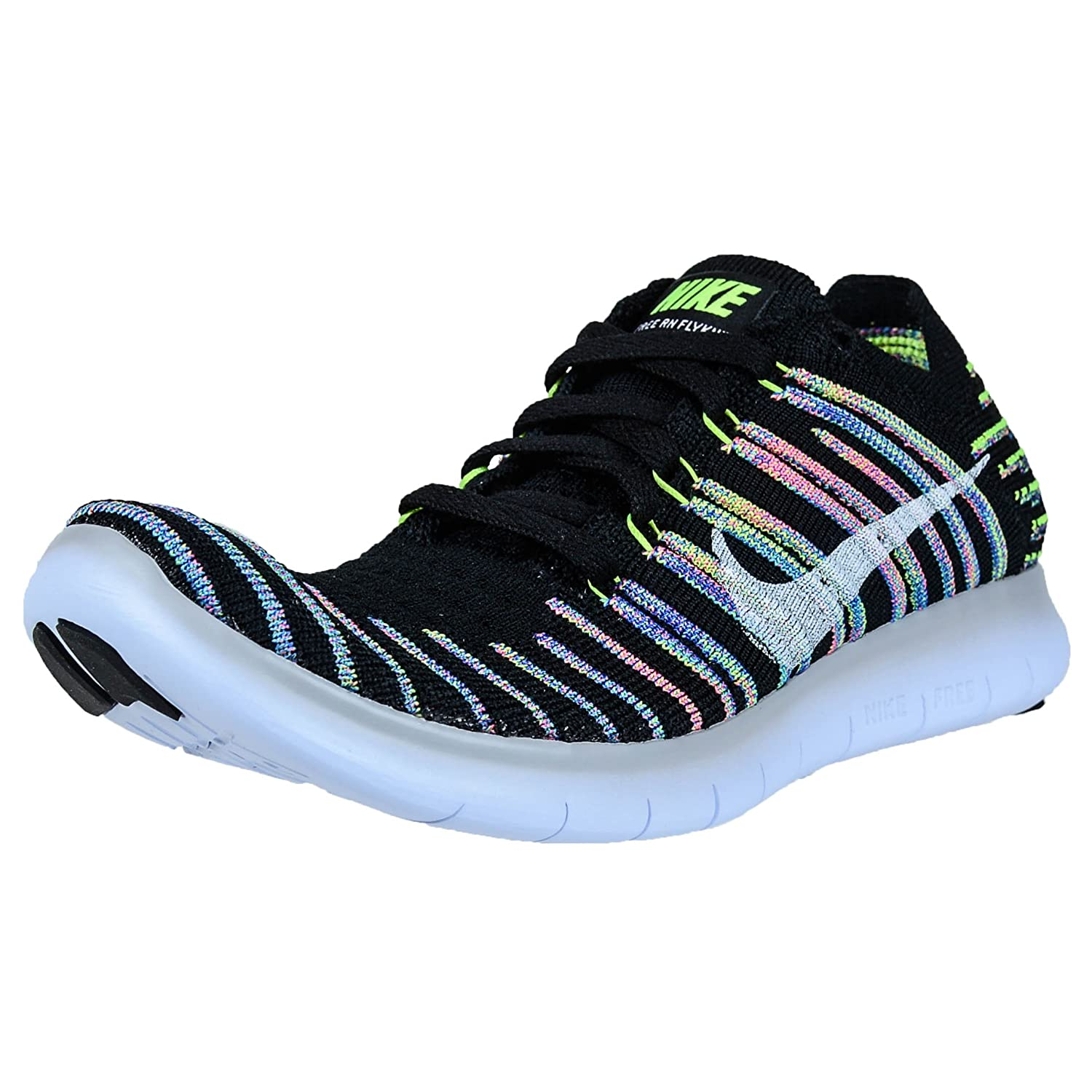 Nike Women s Free Running Motion Flyknit Shoes, Black White-Volt-Blue Lagoon – 6 B M US