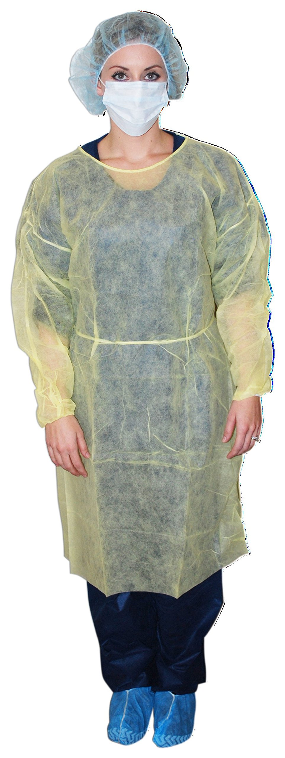 DUKAL 301XL Extra Large Isolation Gown, Yellow, Non-sterile (Pack of 50) by Dukal