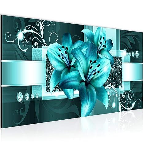 Bilder Blumen Lilien Wandbild Vlies - Leinwand Bild XXL Format Wandbilder  Wohnzimmer Wohnung Deko Kunstdrucke Türkis 1 Teilig - MADE IN GERMANY - ...