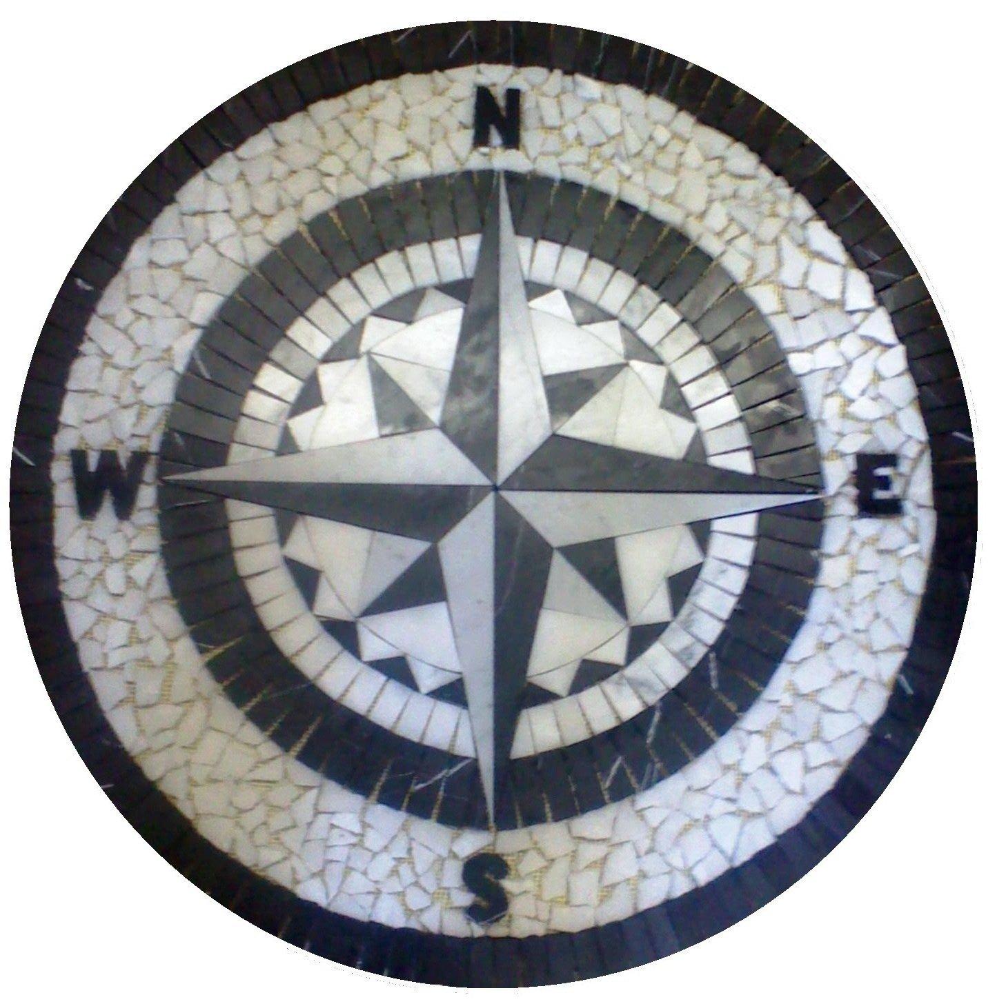 Tile Floor Medallion Marble Mosaic Black & White Compass Rose Star 24''