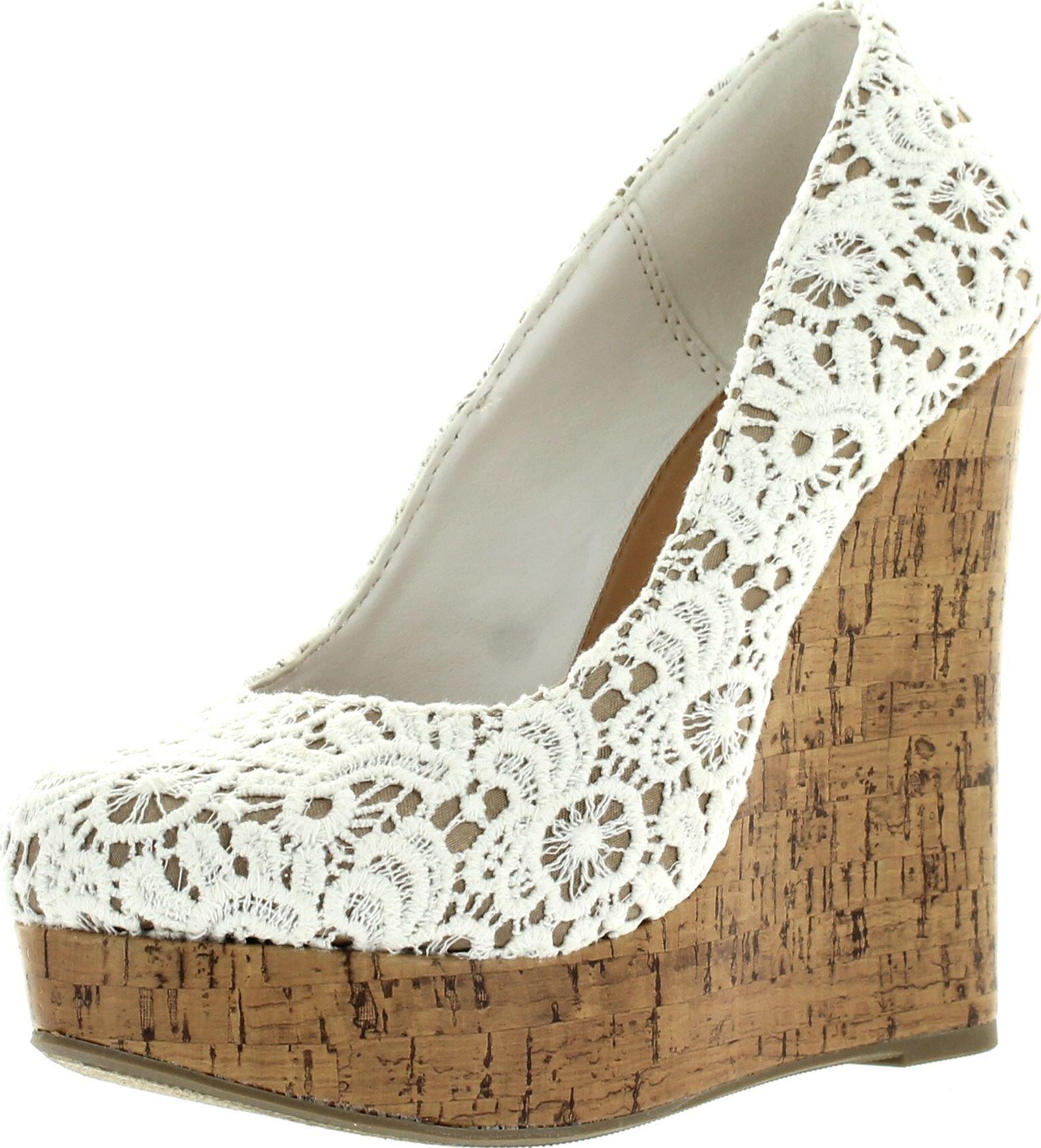 Sully's Dress Almond Toe Crochet Platform High Wedge Heel Summer Sandals,Off White,7