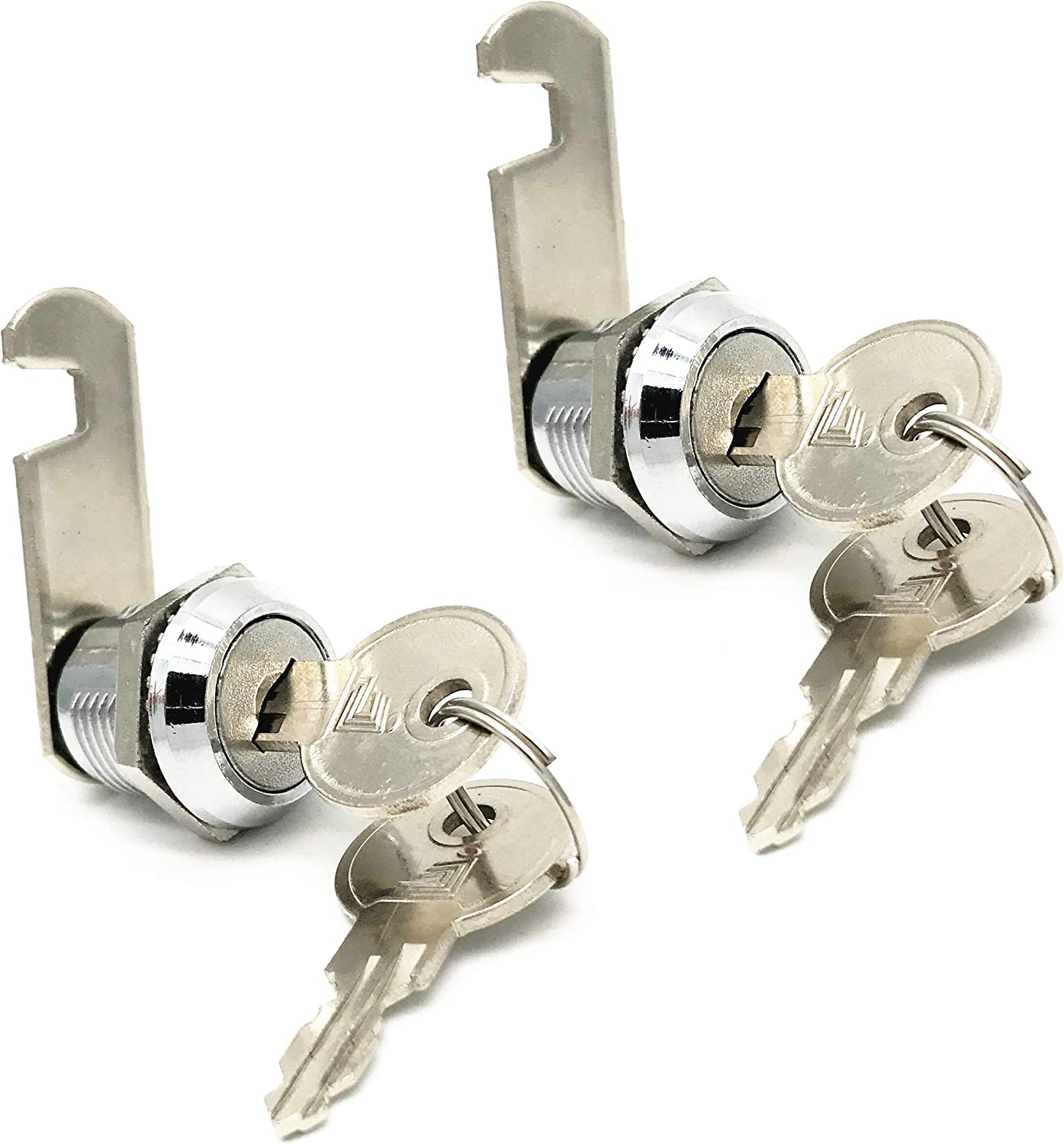 XMHF 16mm Cylinder Cam Lock Mailbox Cabinet Cupboard Drawer Furniture Tool Box Locker,90 Degree Rotation,Opens Counter-Clockwise, Keyed Different, 2Pcs
