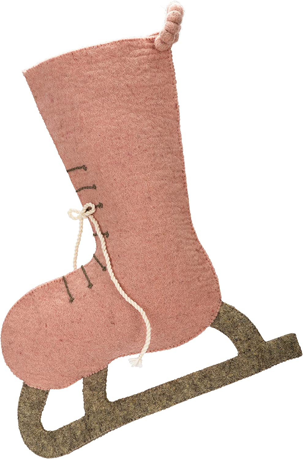 ARCADIA HOME Hand Felted Wool - Skate Christmas Stocking, Pink