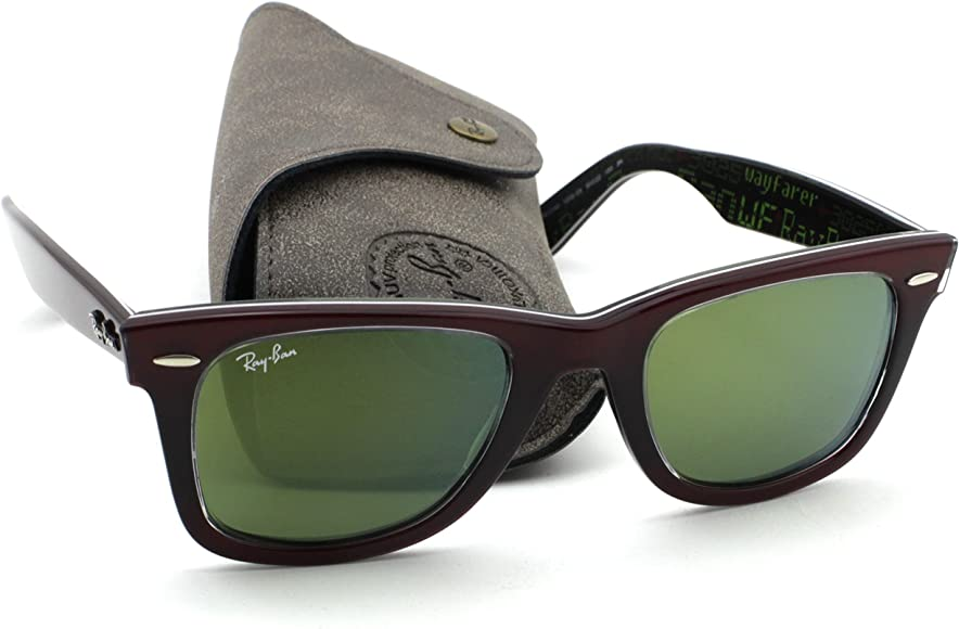 e07283f17 Ray-Ban RB2140 12022X Wayfarer PIXEL Red Frame / Green Mirror Lens 50mm