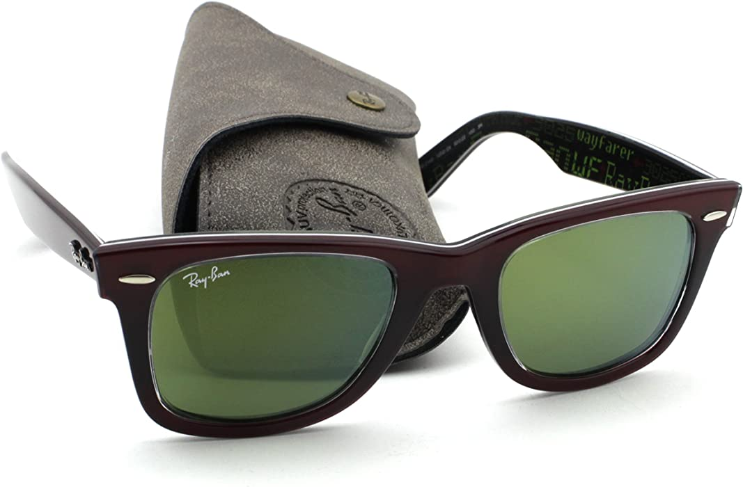 Amazon.com  Ray-Ban RB2140 12022X Wayfarer PIXEL Red Frame   Green Mirror  Lens 50mm  Clothing 2c309ac575